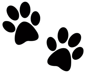 Dog clip art paw print. Two prints pictures of