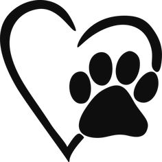 Paw clip art. Print outline dog heart