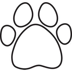 Paw clip art. Dog print silhouette clipart
