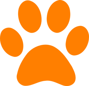 Paw clip art. Orange print at clker