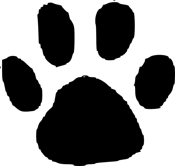 Paw clip art animal. Footprint free vector in