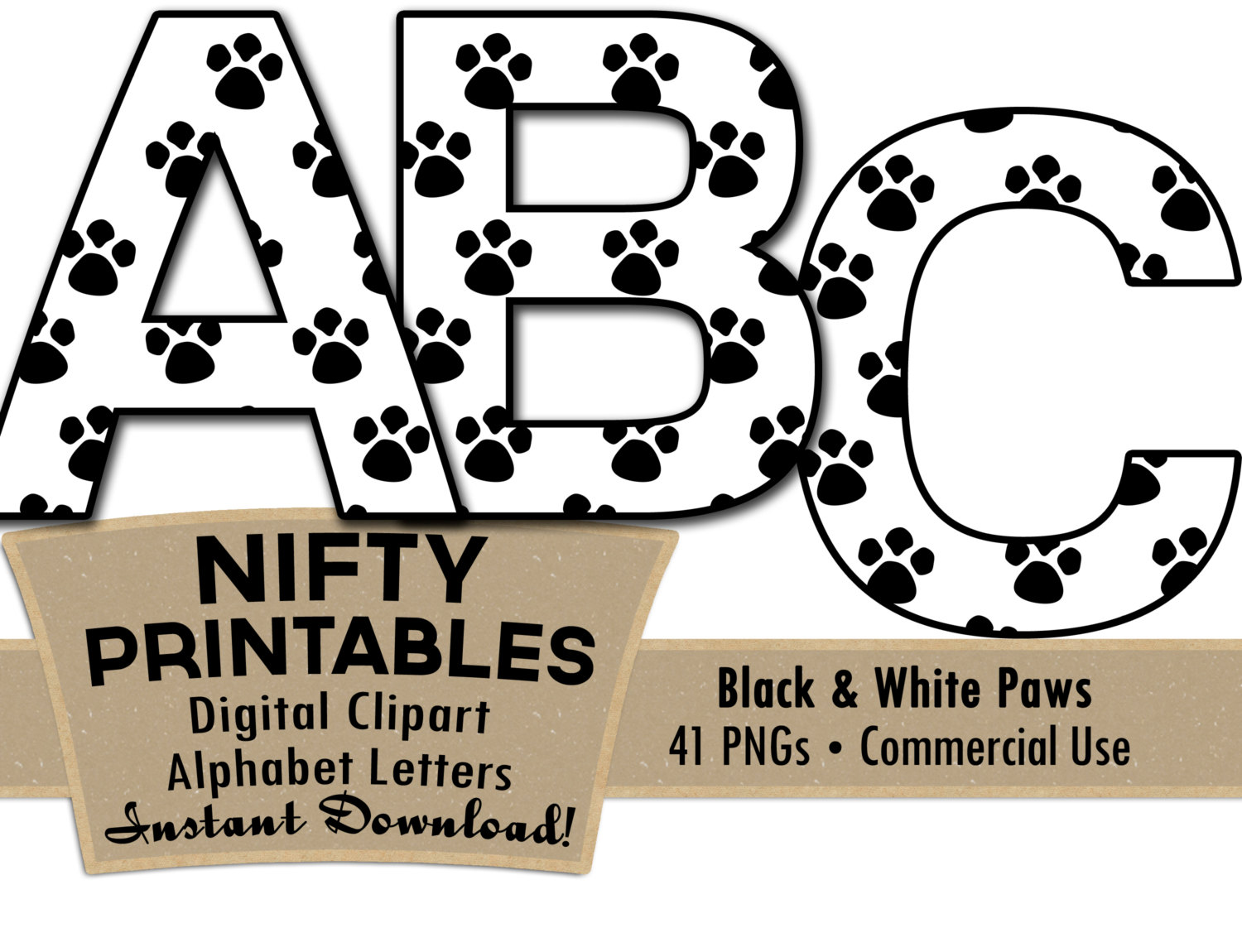 Paw clip art black and white. Prints alphabet letters set
