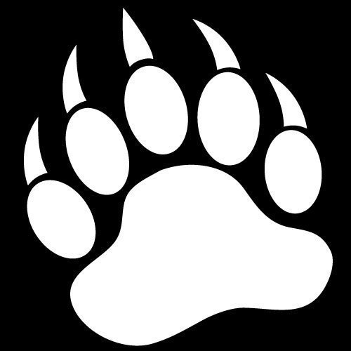 Paw clip art black and white. Grizzly bear print clipart