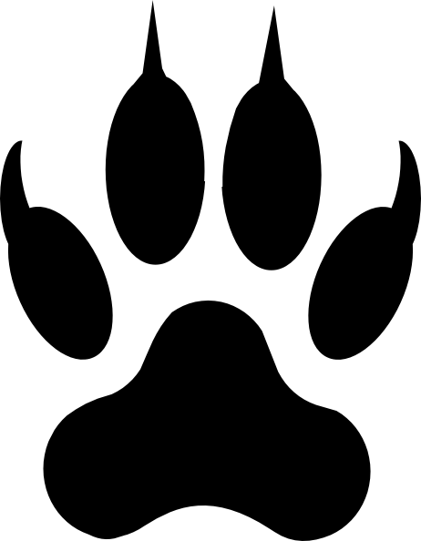 Paw clip art black and white. Dog print free download