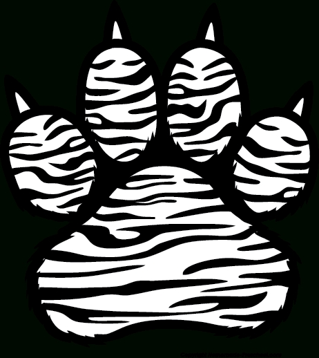 Paw clip art black and white. Tiger clipart letters pencil