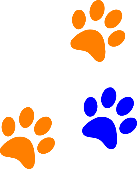Paw clip art clear background. Blue rng print at