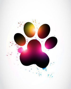 Single dogs print dog. Paw clip art colorful svg free library