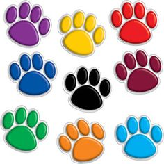 Paw clip art colorful. Print clipart png files