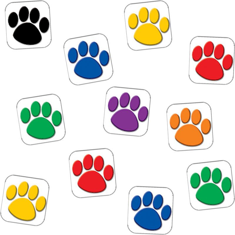 Paw clip art colorful. Prints value pak stickers
