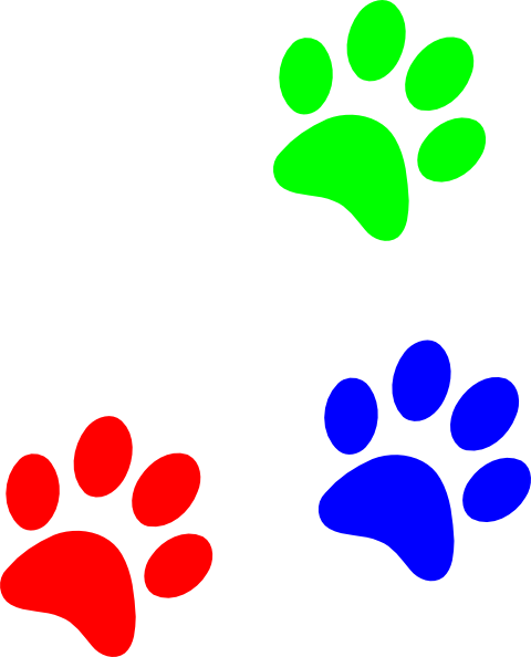 Paw clip art colorful. Print clipart
