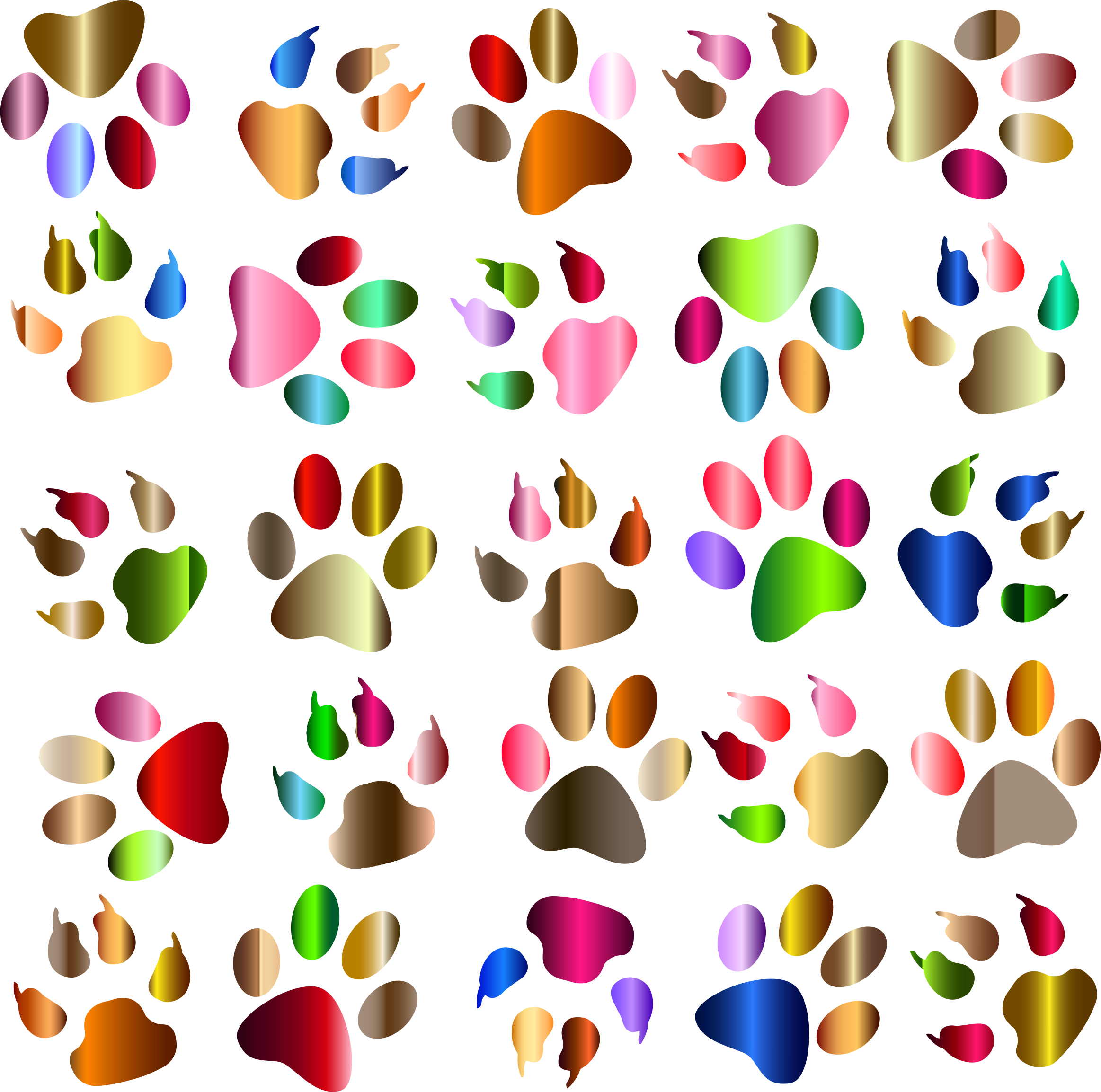 Paw clip art colorful. Clipart prints pattern background