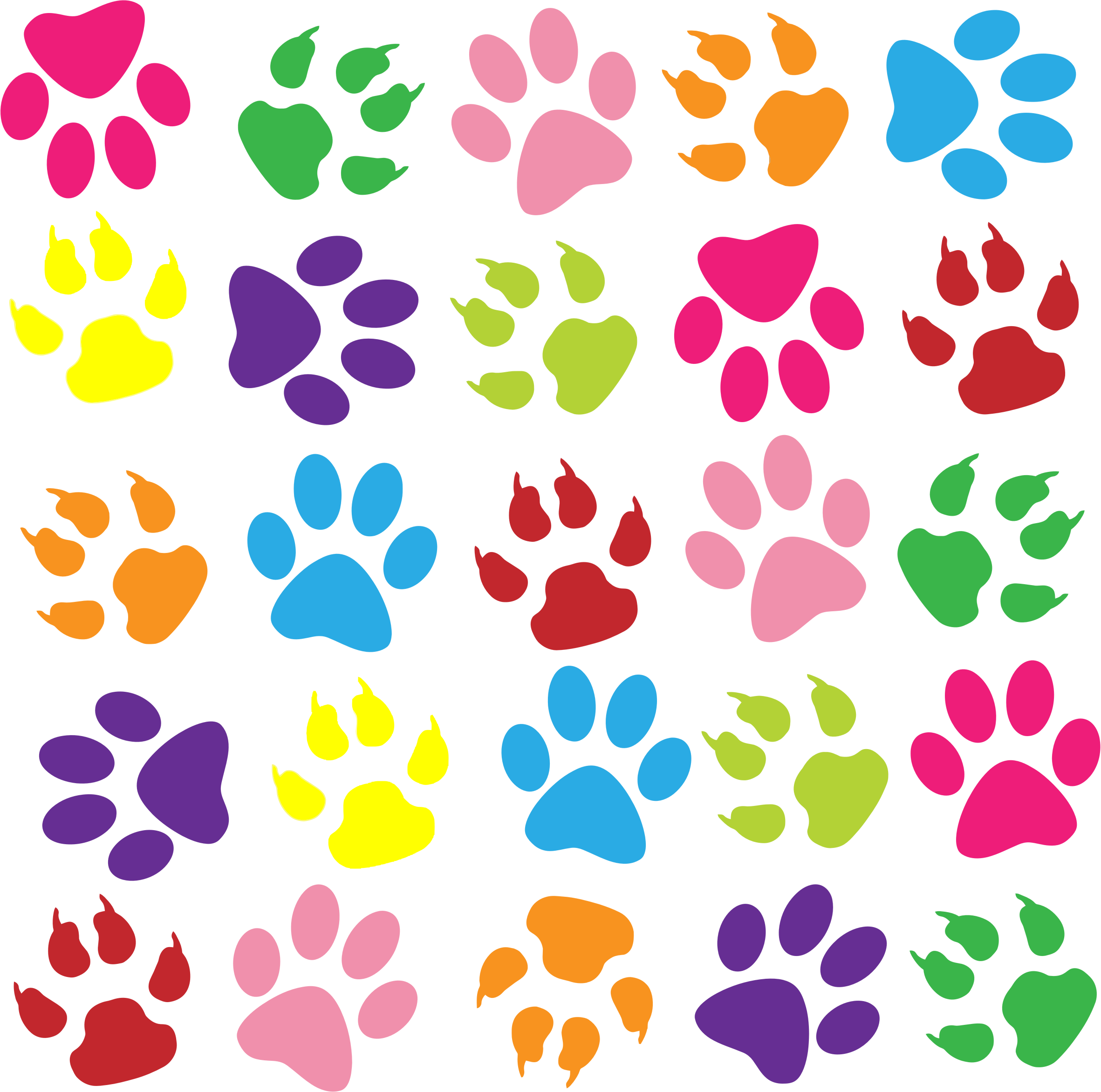 Pattern background png. Clipart colorful paw prints