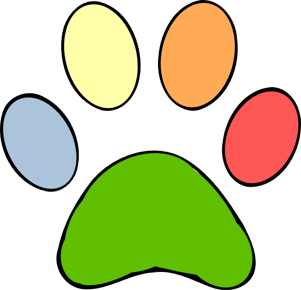 Print at clker com. Paw clip art colorful clip free library