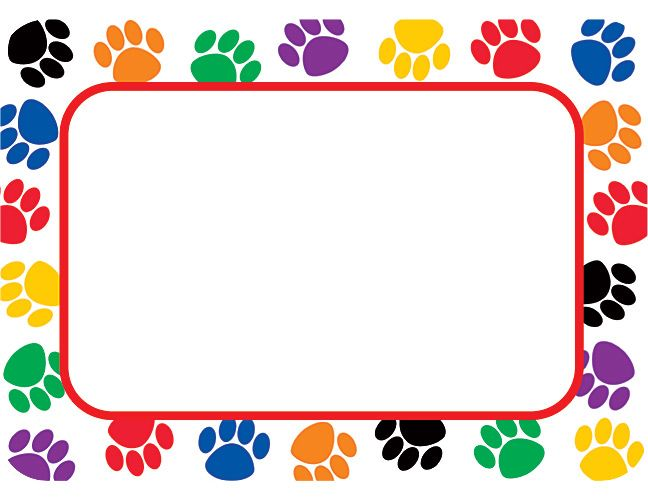 Paw clip art colorful. Prints name tags labels