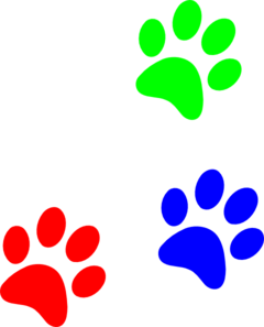 Paw clip art colorful. Primary colors prints at