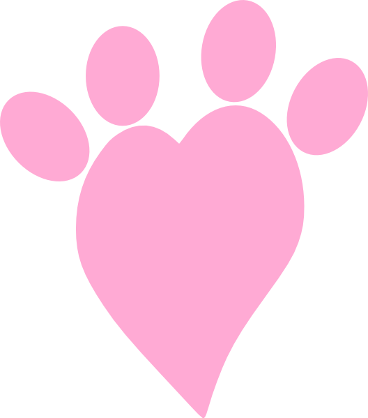 Paw clip art heart. Pink at clker com