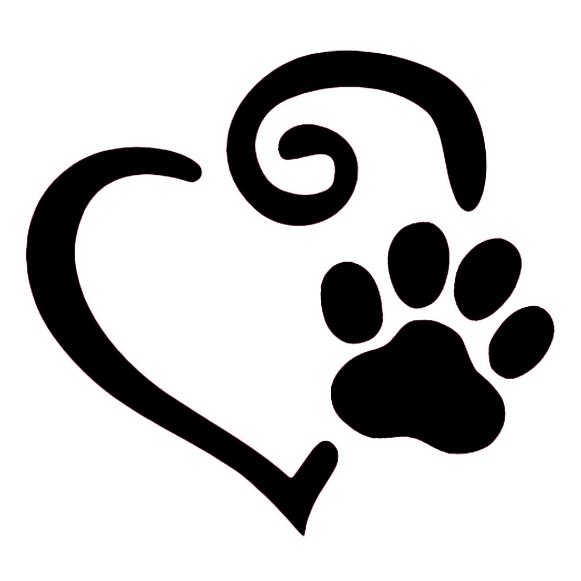 Paw clip art heart. Swirl and print decal