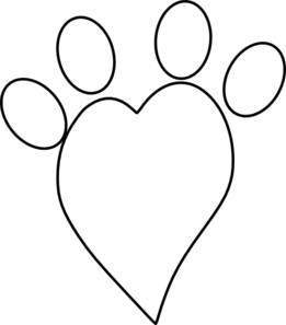 paw clipart heart shaped