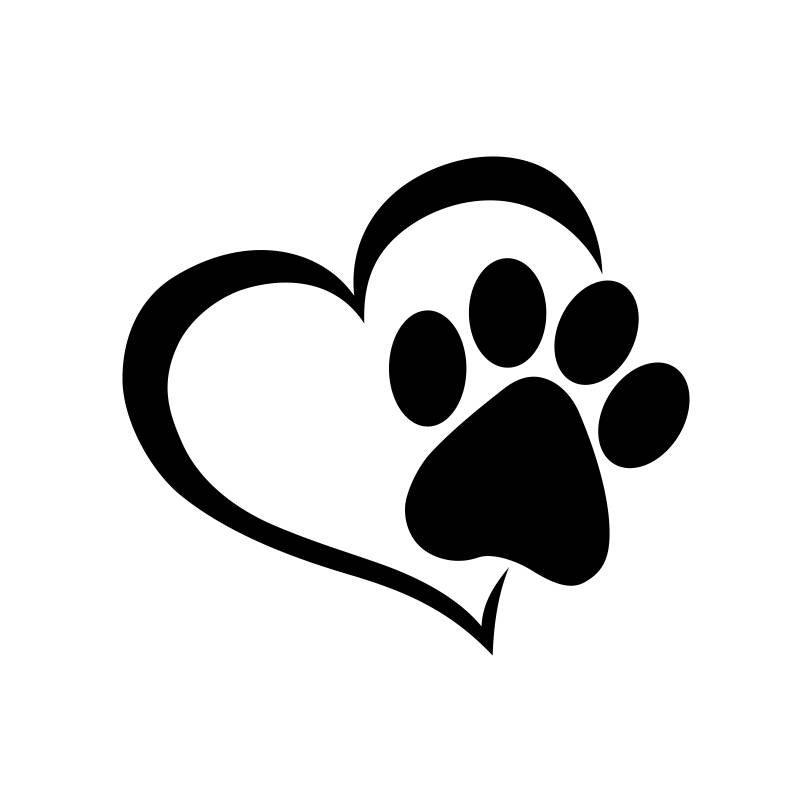 Paw clip art heart. Dog print silhouette at