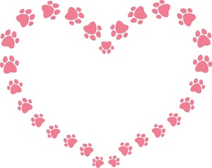 Paw clip art heart shaped. Free prints clipart image