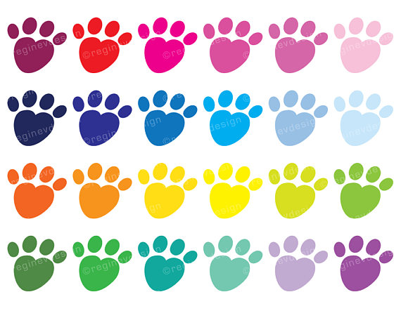 Print clipart dog paws. Paw clip art heart shaped picture library download
