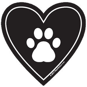 Paw clip art heart shaped. In my dog sticker