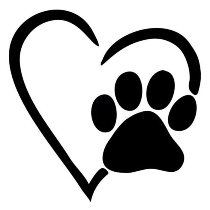Paw clip art heart shaped. High quality vector print