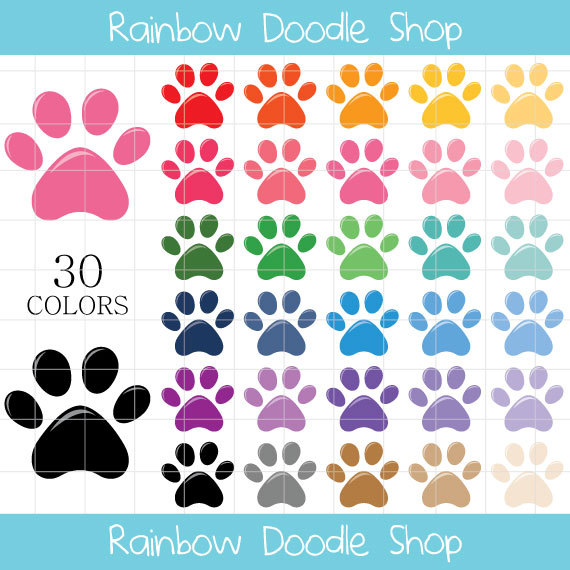 Print clipart colorful prints. Paw clip art puppy vector free library