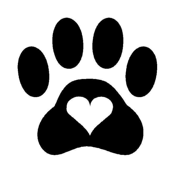 Print heart dog cat. Paw clip art puppy graphic stock