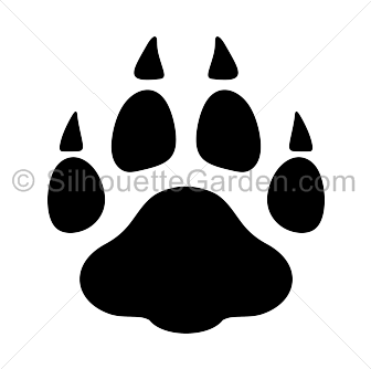 Leopard print . Paw clip art silhouette graphic royalty free