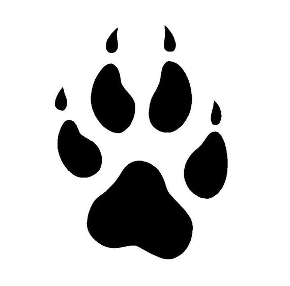 Paw clip art silhouette. Print free download on