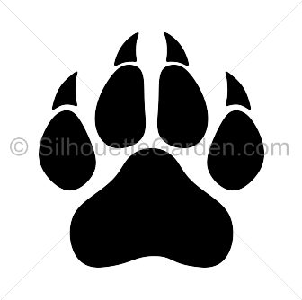 Paw clip art silhouette. Panther print