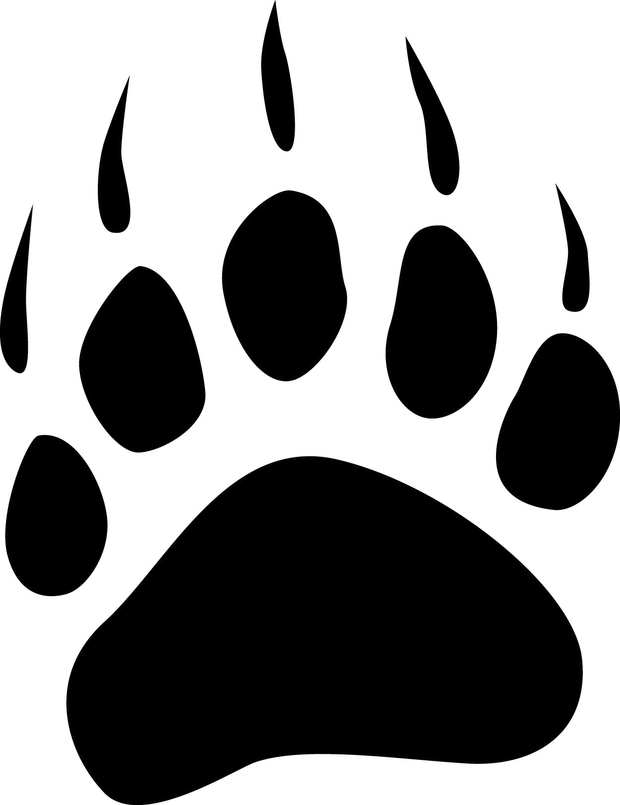 Paw clip art stencil. Bear paws drawings print