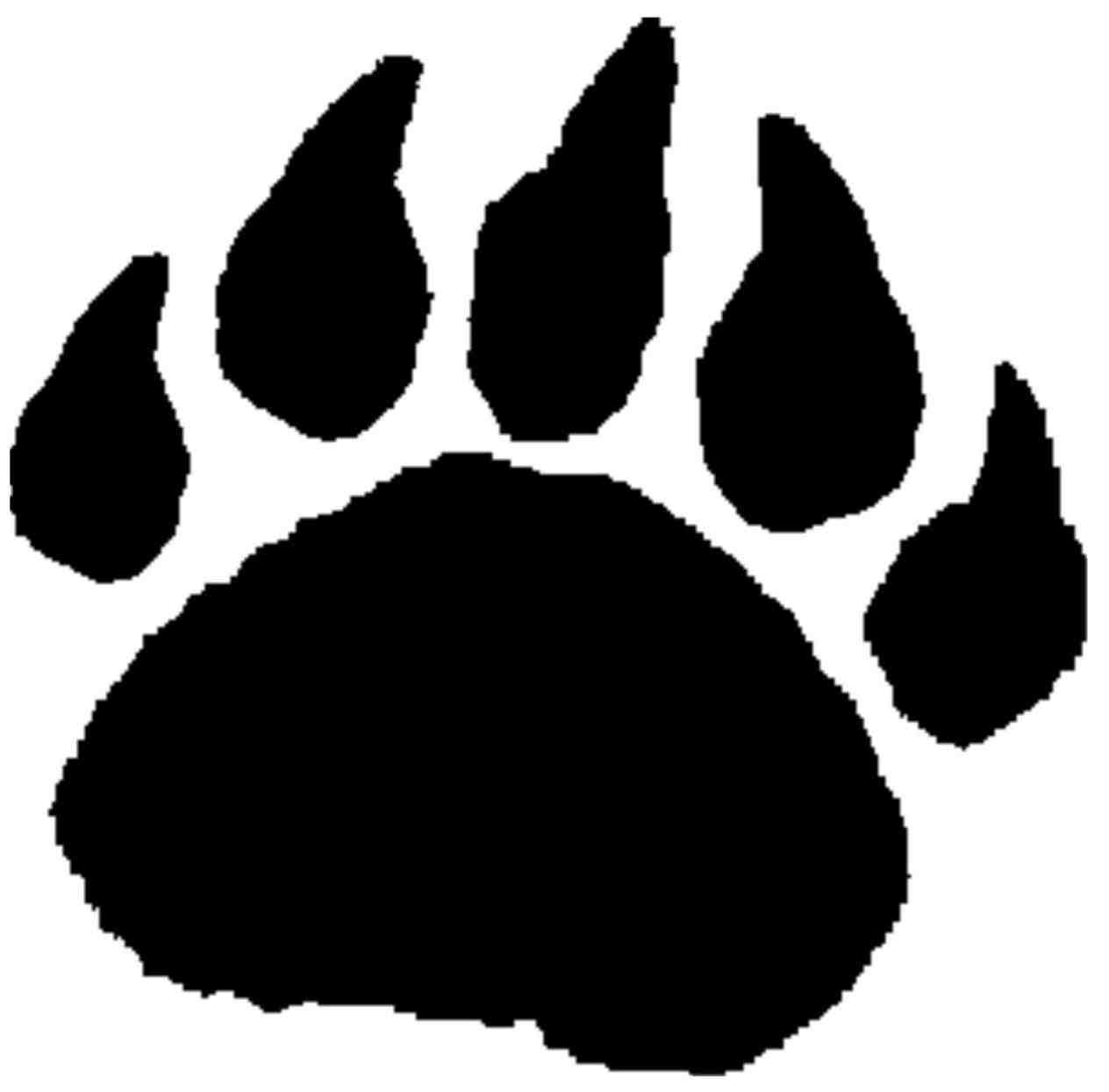 Paw clip art stencil. Tearing pawprint tiger template
