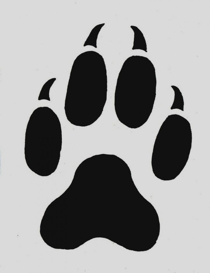 Paw clip art stencil. Pictures of tiger print