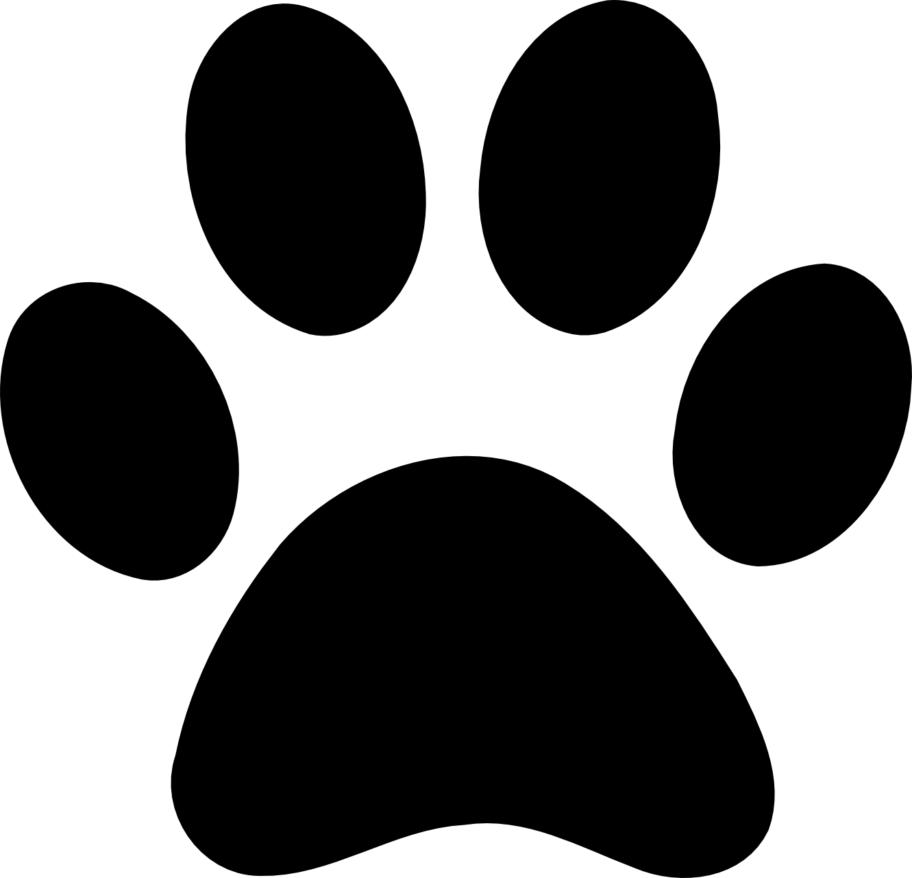 Paw clip art stencil. Dog bone graphic black