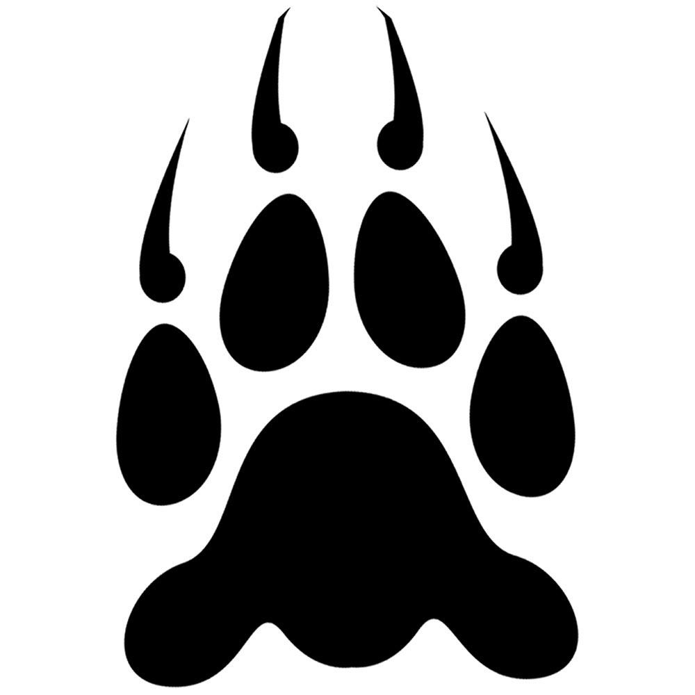 Paw clip art stencil. Bear print grizzly prints