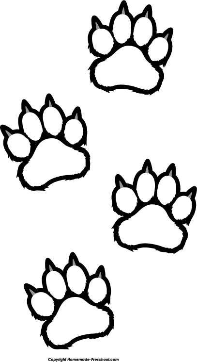 Paws clipart. Paw print coloring page banner black and white
