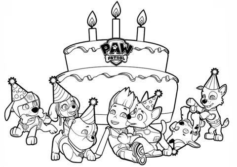 Patrol birthday pages print. Paw clipart coloring page vector free library