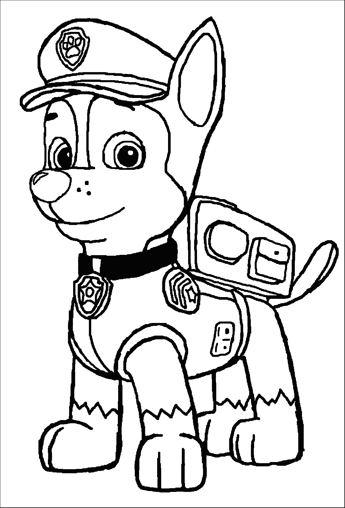 Paw clipart coloring page. Luxury chase patrol advance