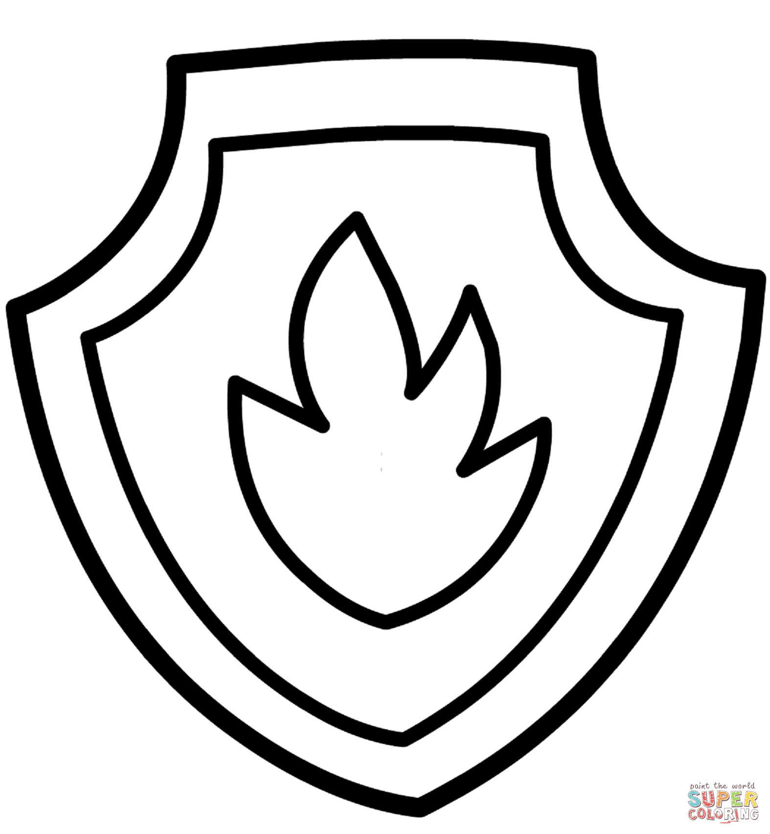 Paw clipart coloring page. Patrol marshall s badge