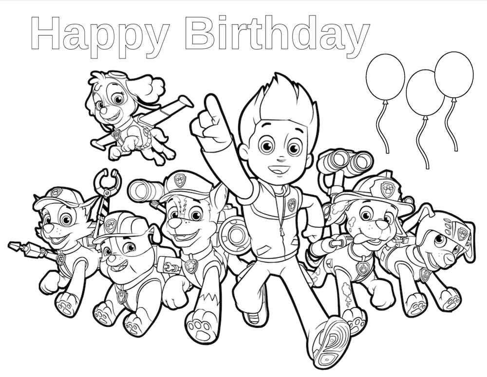 Paw clipart coloring page. Patrol birthday pages print