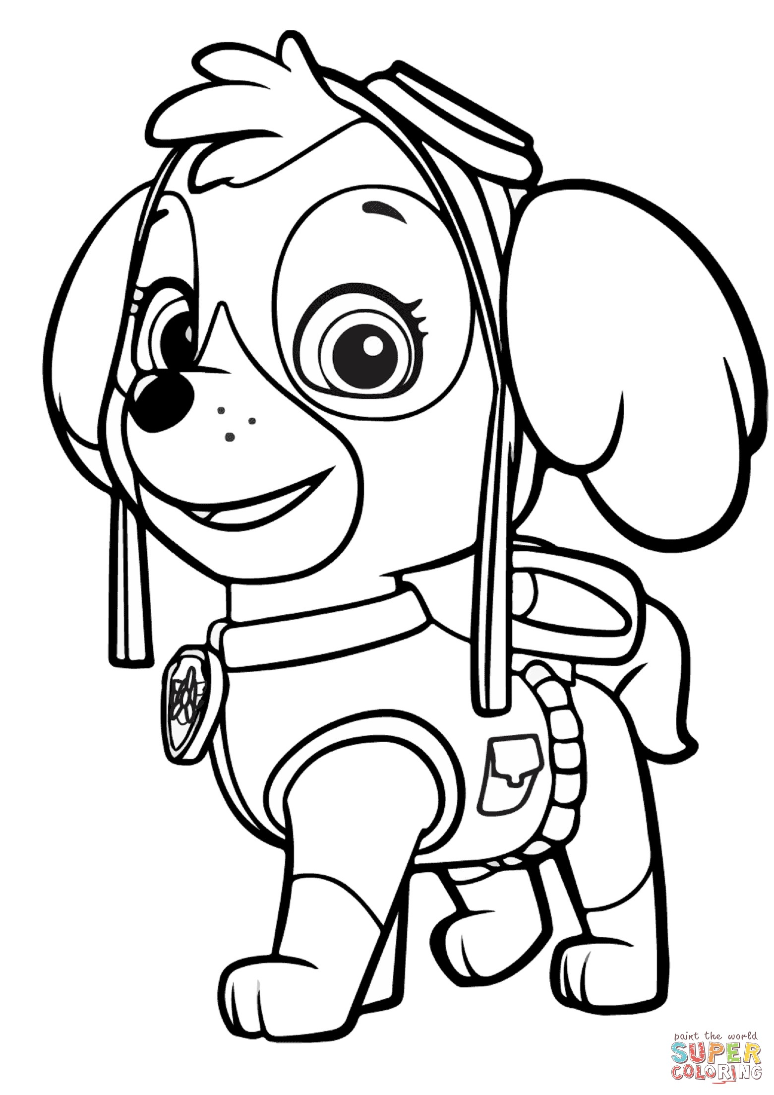 Paw clipart coloring page. Patrol marshall new pages