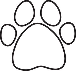 Paw clipart coloring page. Print clip art free