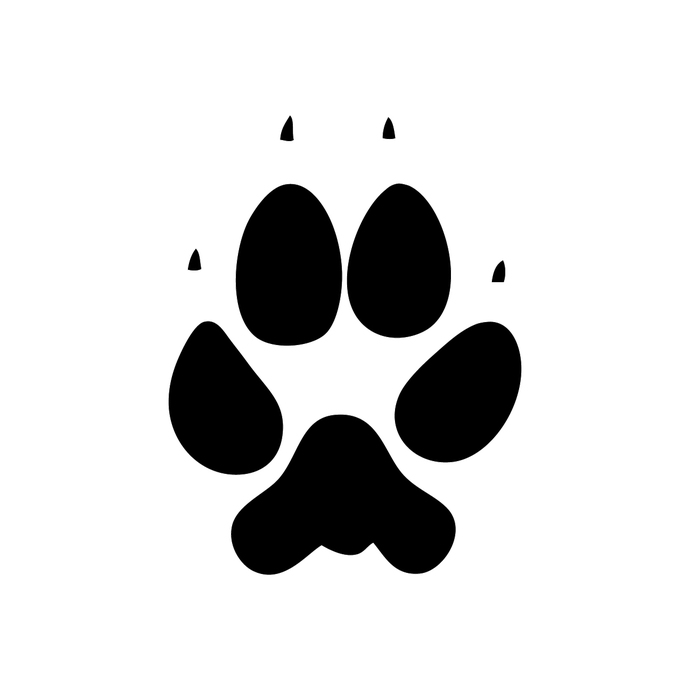 Paw clipart coyote. Print decals tall