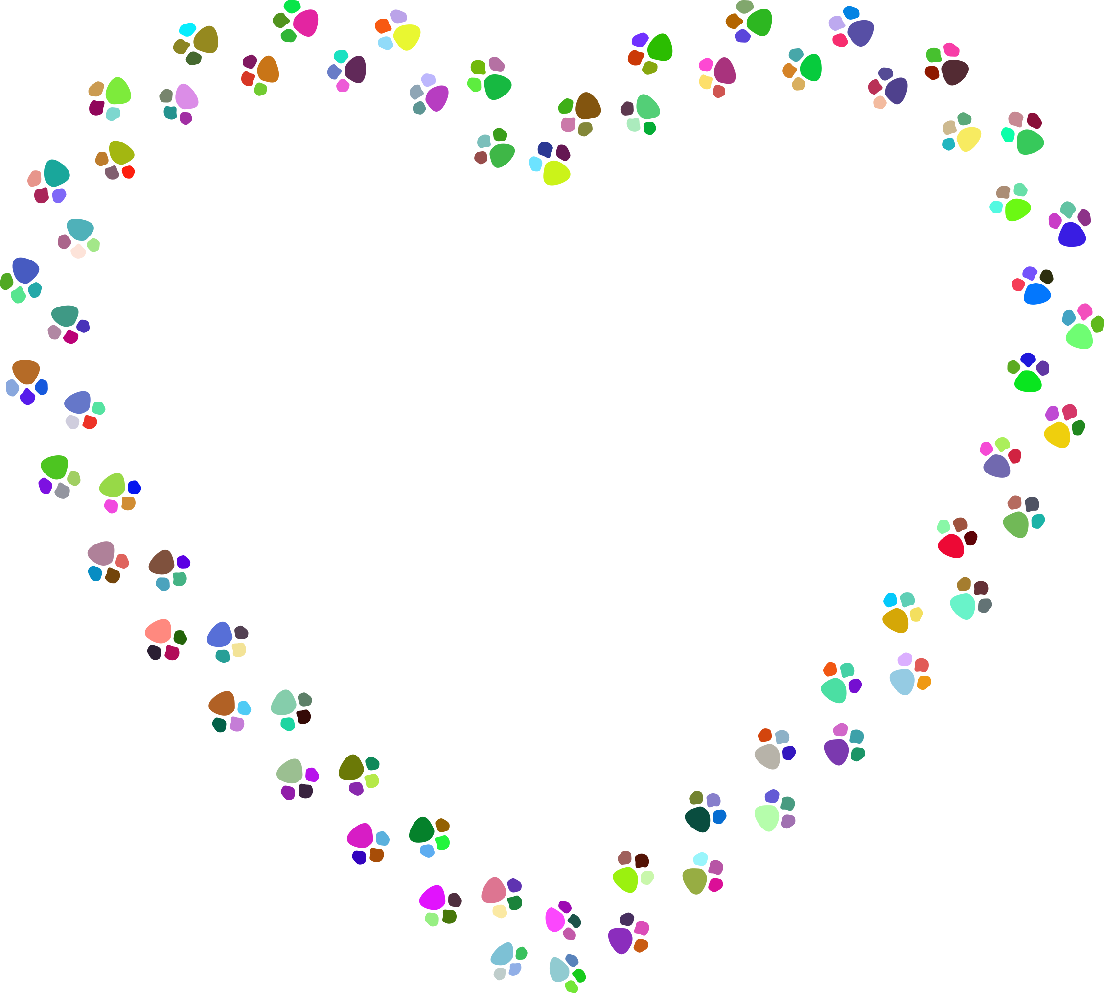 Paw heart png. Clipart colorful prints mark