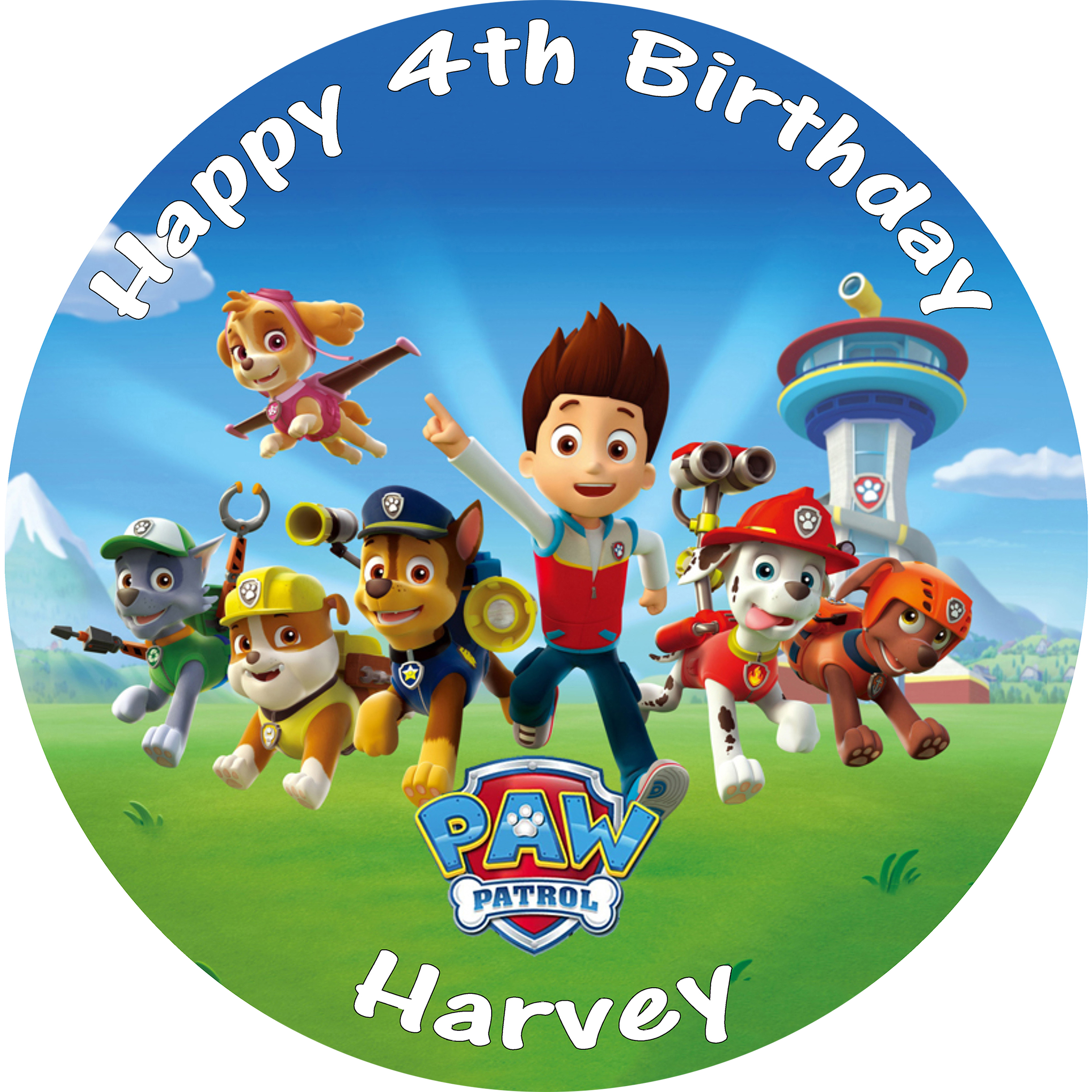 Paw patrol birthday png. Cake topper edible round