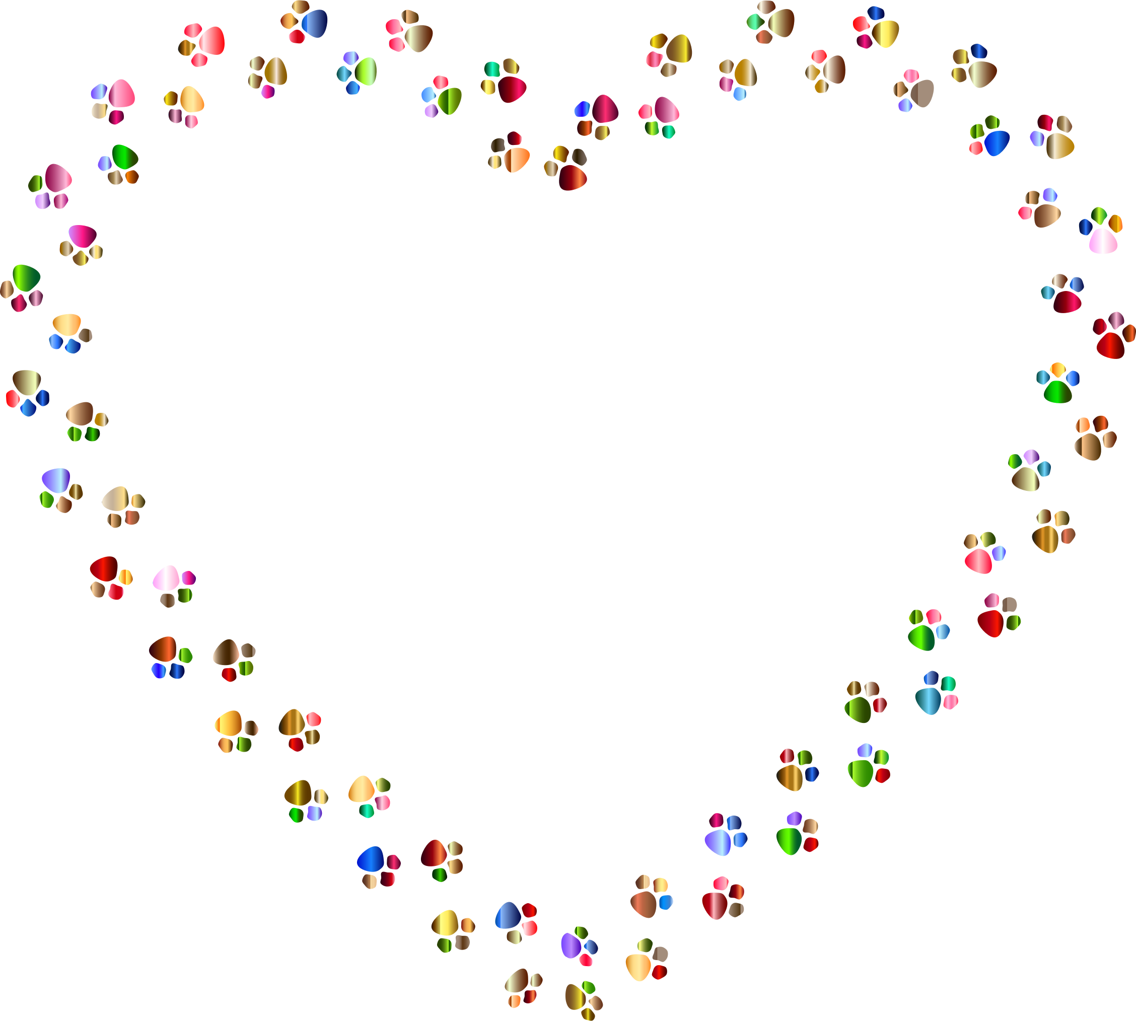 Paw prints png. Colorful heart mark ii