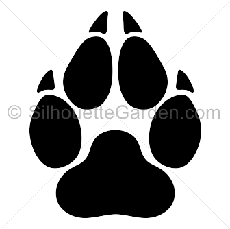 Pawprint clipart silhouette. Wolf paw print clip
