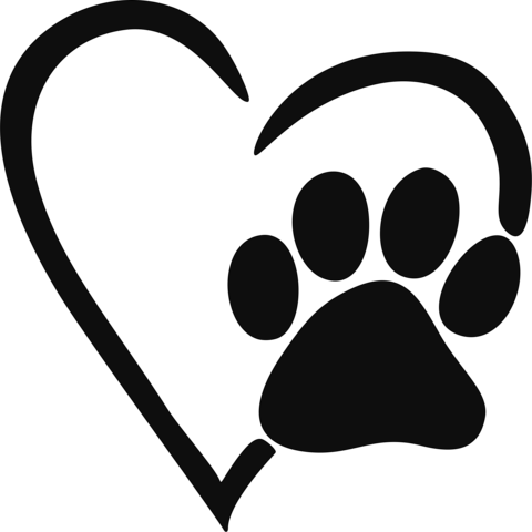 Pawprint svg stencil. Heart paw print decal